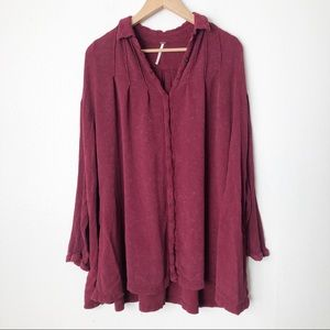 Free People Spin Me Button Down Tunic Shirt Dress